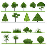 Set of abstract trees, shrubs, grass on a white Royalty Free Stock Image