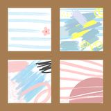 Set of abstract trendy card. Brush strokes, sketch, watercolor, scribble. Vector illustration Vector Illustration
