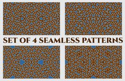 Celtic knot seamless patterns of brown, blue and white shades. Set of 4 abstract trendy celtic knot seamless patterns of brown, blue and white shades Royalty Free Stock Photos