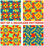Set of 4 trendy geometric patterns with rhombus, triangles and squares of red, blue, green, golden and yellow shades. Set of 4 abstract trendy geometric patterns Royalty Free Stock Photo
