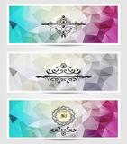 Set Abstract triangle banners  cyan lilac silver Stock Image