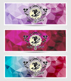 Set Abstract triangle banners  with girl frame Stock Photo