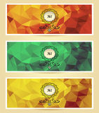Set Abstract triangle banners  red gold green Stock Photos