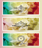 Set Abstract triangle banners  red yellow gold Royalty Free Stock Image
