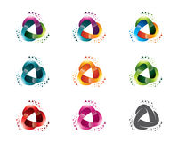 Set of abstract triangle media logo template. Circle triangle symbol vector. Stock Photography
