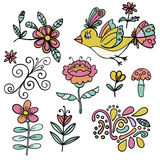 Set of abstract tropical floral elements, yellow paradise bird, cartoon elements. Colorful flowers. Stock Photo
