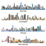 Set of abstract United States urban city illustrations Stock Photo
