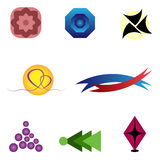 Set abstract various logos. Pink, blue, red, yellow, black, blue royalty free illustration
