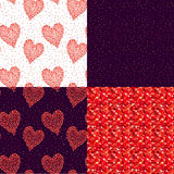 Set of abstract vector background with glittering circles and hearts. Royalty Free Stock Image