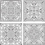Set of 4 abstract vector black square lace designs in mono line Stock Photography