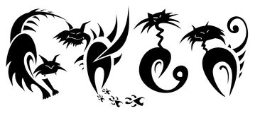 Cats tattoo. Set of abstract vector cats tattoo Royalty Free Stock Image