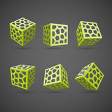Set of abstract vector cubes Royalty Free Stock Photos