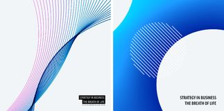 Set of modern design abstract templates. Creative business background with colourful waves lines for promotion, banner Stock Image