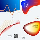 Set of modern design abstract templates. Creative business background with colourful waves lines for promotion, banner Stock Photo