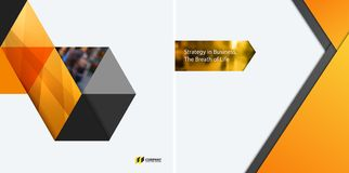 Set of modern design abstract templates. Creative business background with colourful triangles for promotion, banner Royalty Free Stock Images