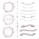 Set of abstract vector floral elements, frame, ribbon,etc Royalty Free Stock Image