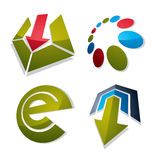 Set of abstract vector geometric symbols, 3d unusual e symbol, s Stock Images