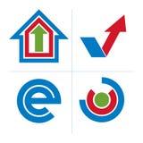 Set of abstract vector geometric symbols, unusual e symbol, chec Stock Image