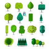 Set of Abstract Vector Green Trees. Tree icons royalty free illustration