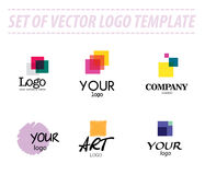 Set of abstract vector logo templates. On white background. Transparent logo sample. Universal company logo sample. Art logo template. Colorful logo group Stock Photos