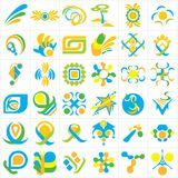 Set of 36 abstract vector logos in blue, green and yellow color scheme. On an isolated white background Stock Images