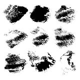 Set of abstract vector rough imprints smears black paint 1 Stock Images