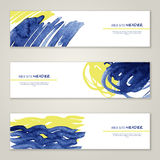 Set of abstract vector watercolor headers for Stock Photo
