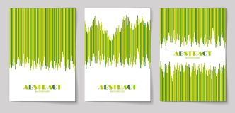 Set of vertical abstract backgrounds 11. Set of abstract vertical background with striped pattern in green colors. Design template of flyer, banner, cover Stock Photos