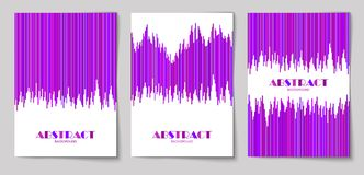 Set of vertical abstract backgrounds 14. Set of abstract vertical background with striped pattern in purple colors. Design template of flyer, banner, cover Royalty Free Stock Photo