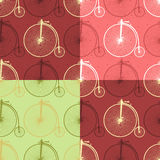 Set of abstract vintage bicycle seamless background patterns 005. Set of abstract seamless patterns with vintage bicycle and texture. Vector illustration, easy Stock Images