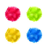 Set abstract watercolor splash, colorful paint circles Stock Photos