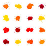 Set of Abstract Watercolor Spots, Isolated on Whit Stock Image