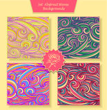 Set Abstract waves or circle hair background in different colors Royalty Free Stock Image