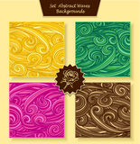 Set Abstract waves or circle hair background in magenta orange yellow green brown Stock Photo