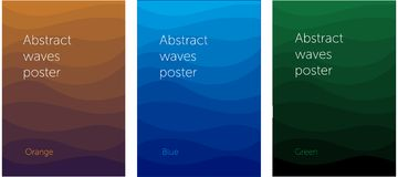 Set of abstract wavy posters royalty free illustration