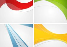 Set of abstract wavy and striped bright backgrounds stock illustration