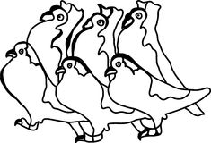 Set of abstract white dove Royalty Free Stock Image