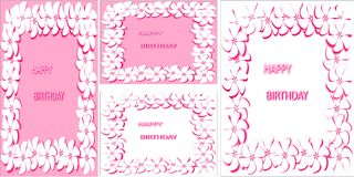 A set of abstract white and pink background white flowers with pink stroke words happy birthday. A set of cards of different formats abstract white and pink Royalty Free Stock Photography