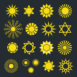 Set of Abstract Yellow Sun Icons with Various Rays Royalty Free Stock Images
