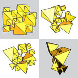Set of abstract yellow volume of pyramids and triangles Stock Photos