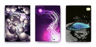 A set of 3 abstractions with a cosmic theme, a planet and fashionable ovals and stripes. Futuristic abstract design. Used for bann Royalty Free Stock Images