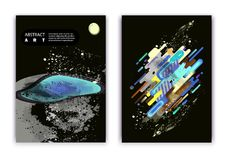 A set of 2 abstractions with a cosmic theme, a planet and fashionable ovals and stripes.  Stock Photography