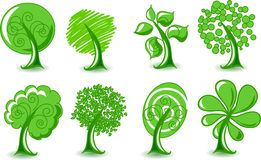 Set abstracts  trees, vector. Illustration picture Royalty Free Stock Photography