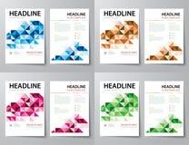 Set abstrakcjonistyczna biznesowa okładka magazynu, ulotka, broszurki mieszkania d Obrazy Stock