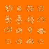 Set abstrakcjonistyczna dziękczynienie dnia ikona Wakacyjni symbole Fotografia Royalty Free