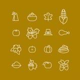 Set abstrakcjonistyczna dziękczynienie dnia ikona Wakacyjni symbole Zdjęcie Royalty Free