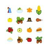 Set abstrakcjonistyczna dziękczynienie dnia ikona Wakacyjni symbole Zdjęcie Stock