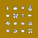 Set abstrakcjonistyczna dziękczynienie dnia ikona Wakacyjni symbole Obraz Royalty Free