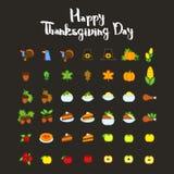 Set abstrakcjonistyczna dziękczynienie dnia ikona Wakacyjni symbole Fotografia Stock