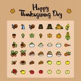 Set abstrakcjonistyczna dziękczynienie dnia ikona Wakacyjni symbole Zdjęcia Stock